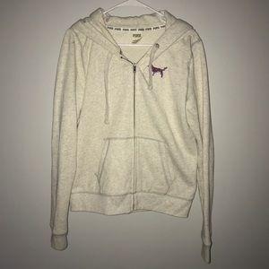 Light Gray Sequin Pink Zip-up